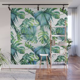 Blue Jungle Leaves, Monstera, Palm #society6 Wall Mural