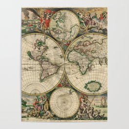 1689 Map of the World by Gerard van Schagen Poster