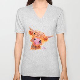 Highland Cow Print, Animal Print ' NESSIE ' by Shirley MacArthur Unisex V-Neck