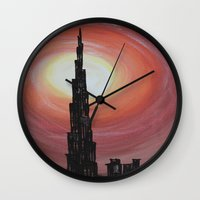 wiz khalifa Wall Clocks featuring Burj Khalifa by sladja