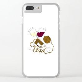 Wine o'clock (gold) Clear iPhone Case