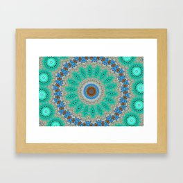 Lovely Healing Mandalas in Brilliant Colors: Blue, Brown, Teal, Silver and Gold Framed Art Print