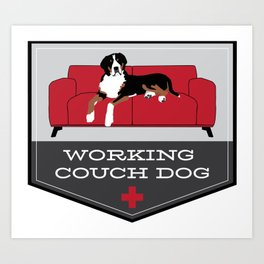 Working Couch Dog Badge Art Print