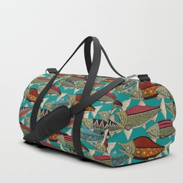 Alaskan salmon teal Duffle Bag