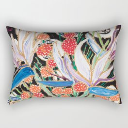 Lions and Tigers Dark Floral Still Life Painting Rectangular Pillow
