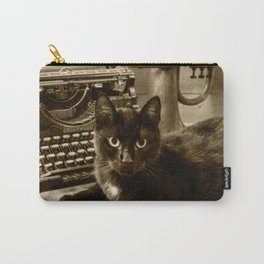 Black cat and vintage typewriter  Carry-All Pouch