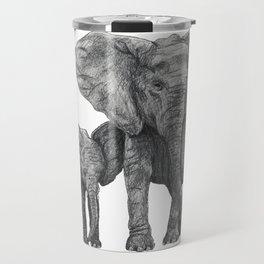 African Elephant and Calf Travel Mug
