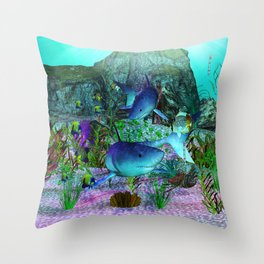 Exploration 3D Aquarium SHARKS Throw Pillow