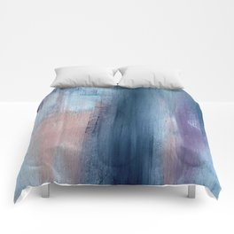 In a Blur: an abstract mixed media piece in pinks, blues, and purple Comforters