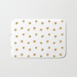Merry christmas-Stars shining brightly-Gold glitter pattern Bath Mat