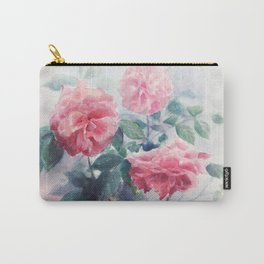 Watercolor Pink English Rose Garden Carry-All Pouch