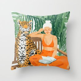 Jungle Vacay #painting #illustration Throw Pillow