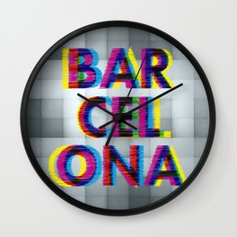 Barcelona Glitch Psychedelic Wall Clock
