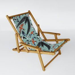 Swallows Martins and Swift pattern Turquoise Sling Chair