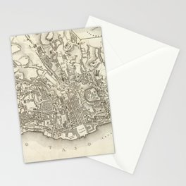 Vintage Map of Lisbon Portugal (1844) Stationery Cards