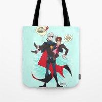 hetalia Tote Bags featuring PruMano superheroes by Jackce