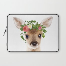 Baby Deer With Flower Crown, Baby Animals Art Print By Synplus Laptop Sleeve