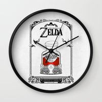 the legend of zelda Wall Clocks featuring Zelda legend - Red potion  by Art & Be