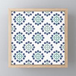 Mint and Navy Repeating Tile Digital Design Framed Mini Art Print