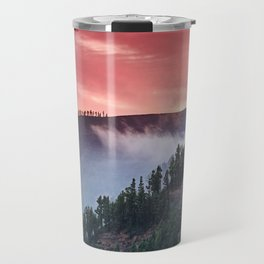 Red Sunset At The Mountains. Garajonay National Park Travel Mug