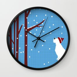 Schnauzer Dog in snow, christmas time Wall Clock