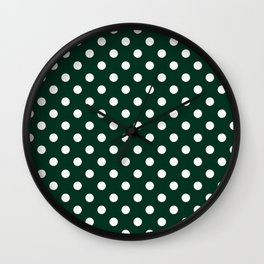 Small Polka Dots - White on Deep Green Wall Clock