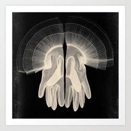 X-Ray of Vintage Gloves (square) Art Print