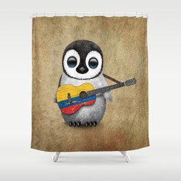 Baby Penguin Playing Colombian Flag Acoustic Guitar Shower Curtain
