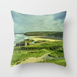 Perranporth Headland Throw Pillow