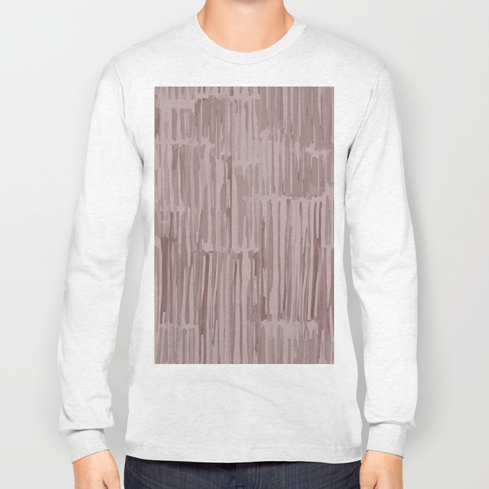 Simply Bamboo Brushstroke Red Earth on Clay Pink Long Sleeve T-shirt