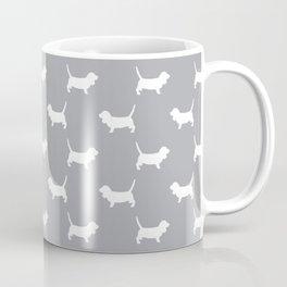 Basset Hound silhouette grey and white dog art dog breed pattern simple minimal Coffee Mug