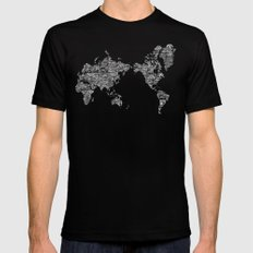 Passport Stamp Map Special Edition, Black and White Black MEDIUM Mens Fitted Tee