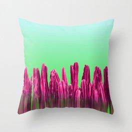 Vibrant Sunrise Cactus Landscape Glitch Throw Pillow