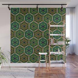 Boho green mandalas Wall Mural