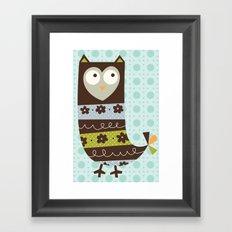 Brown Whimsy Owl Framed Art Print