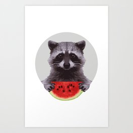 The Racoon and the Watermelon Art Print