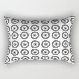Evil Eye Amulet Talisman Black White Gray on white Rectangular Pillow