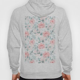 Rose Blush Watercolor Flower And Eucalyptus Hoody