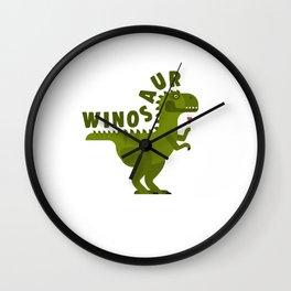 Winosaur Wine Drinking Dinosaur Wall Clock