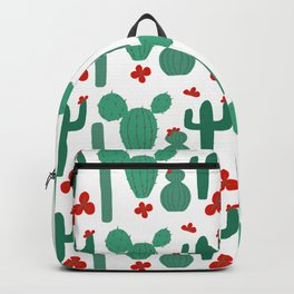 Green Cactus Shapes with Red Cactus Flowers Backpack