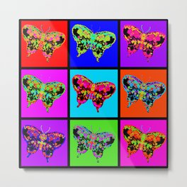 Psychedelic Butterflies Mosaic Metal Print