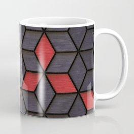 Grey Black Red Cubes Coffee Mug