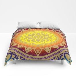 'Infinite Light' Mandala Gold Blue Purple Red Orange Yellow Comforters