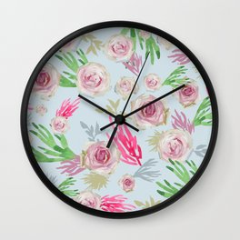 Pale Roses in Oil Paint on Light Blue Wall Clock