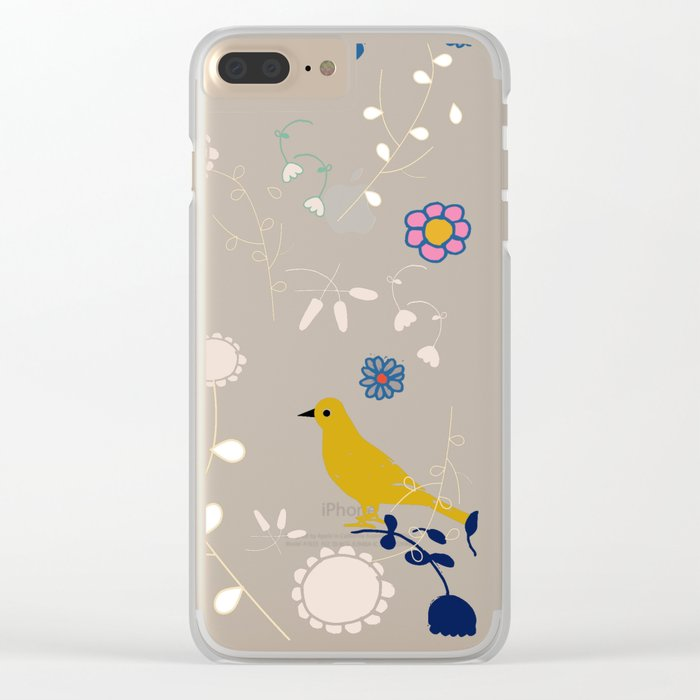 Bird and blossom green Clear iPhone Case