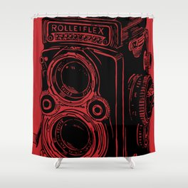 Vintage Rolleiflex (Red/ Black) Shower Curtain