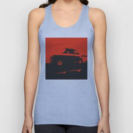 Fiat 500 classic, Red on Black Unisex Tank Top