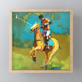 poloplayer abstract turquoise ochre Framed Mini Art Print