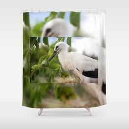 Orphaned one White Stork Shower Curtain