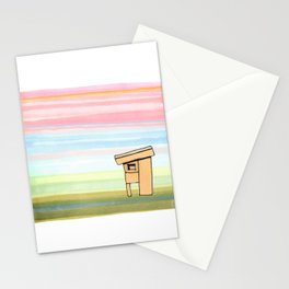 Pink Stripes Sunset Sky with House 78 Stationery Cards
